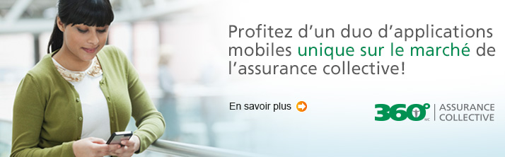 Profitez d'un duo d'applications mobiles unique sur le marché de l'assurance collective.